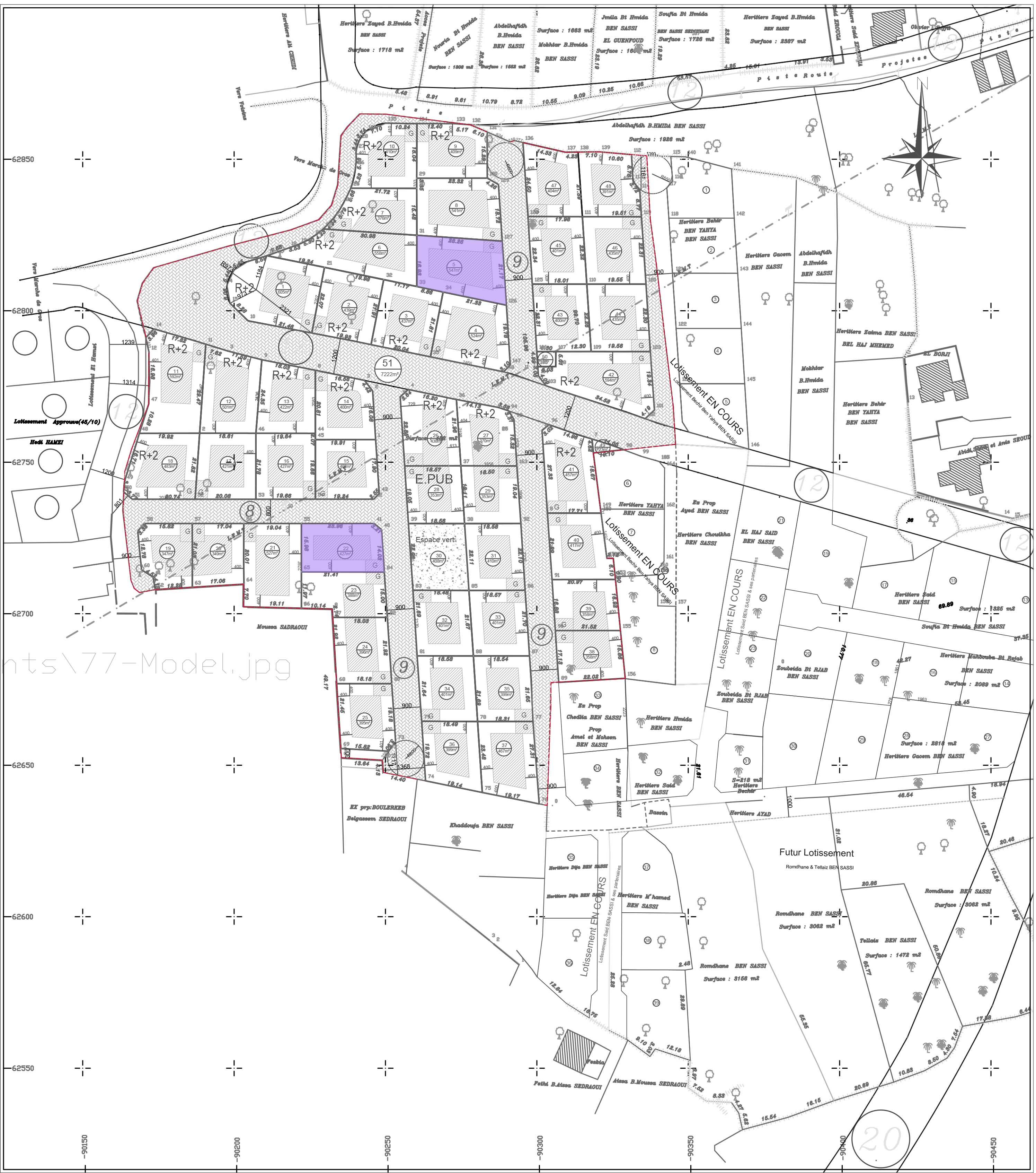 terrain loti de 540m2 a proximité de houmet souk