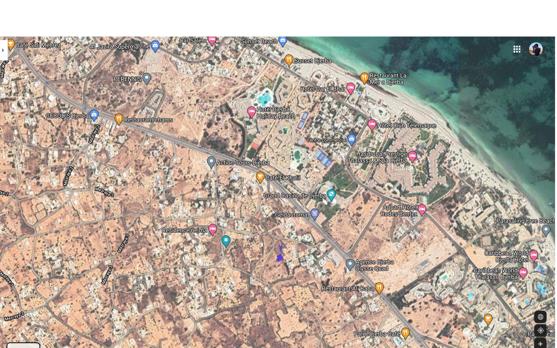 Terrain constructible a la zone touristique Djerba face au casino