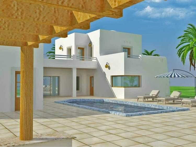 Maison inachevée à vendre à Djerba titre bleu